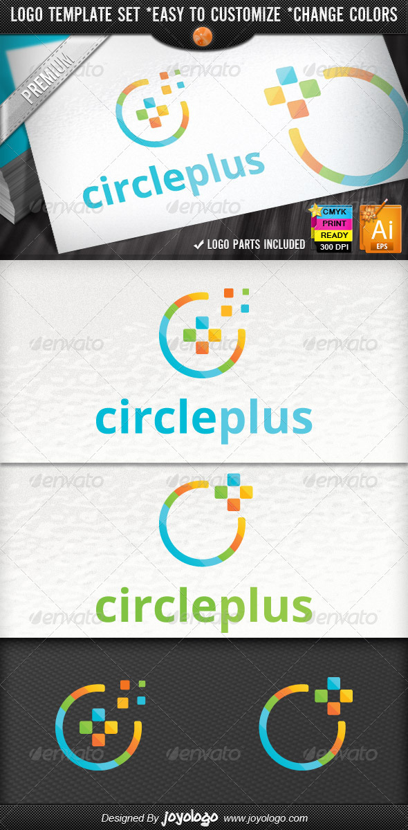 GraphicRiver Cube Circle Pixel Media Plus Logo Design Package 2544880