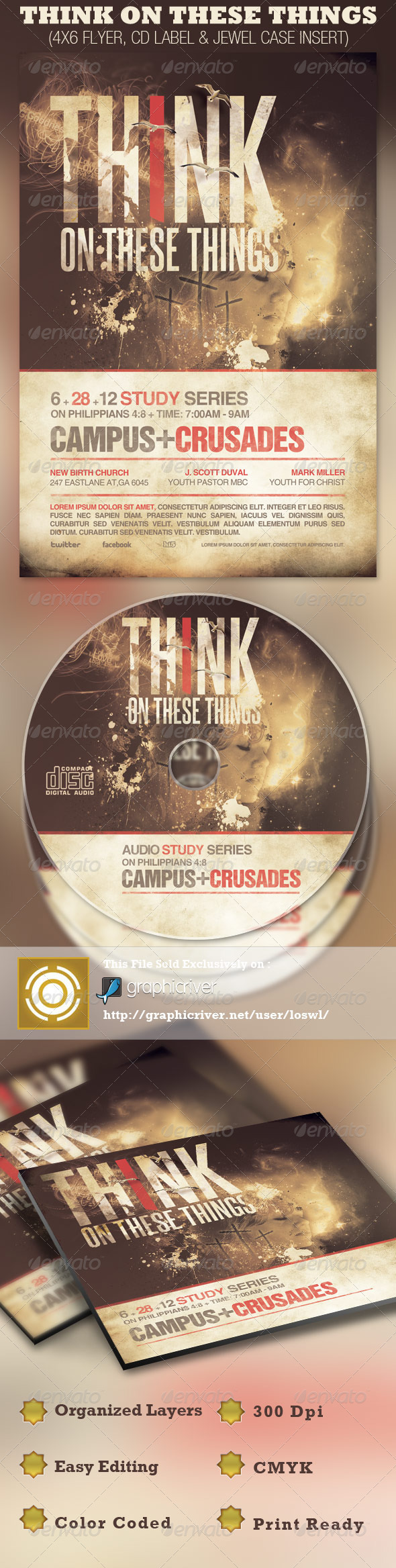 GraphicRiver Think on These Things Church Flyer and CD Template 2557245