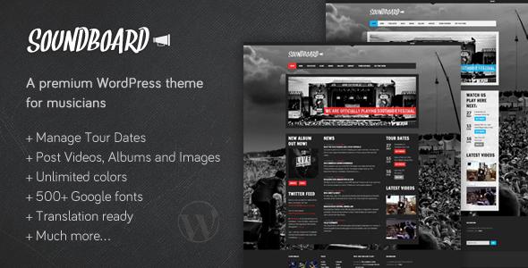 Temas de WordPress para Bandas: Soundboard
