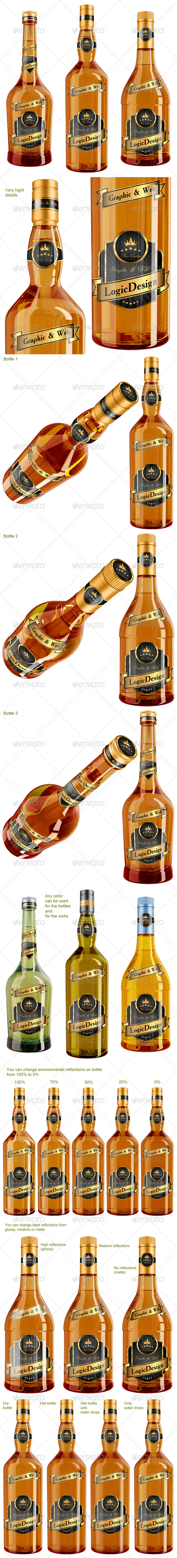 Whisky & Cognac Bottle Mock Up - Food and Drink Packaging