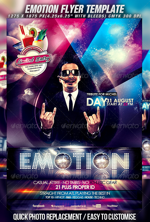Emotion Flyer Template - Clubs & Parties Events