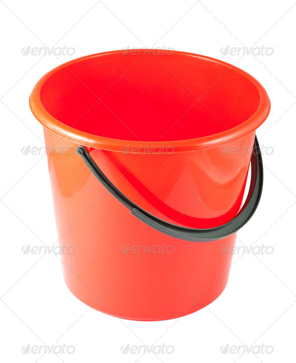 Red plastic bucket - Stock Photo - Images