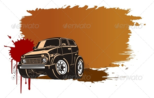 Vector Grunge Background with Jeep