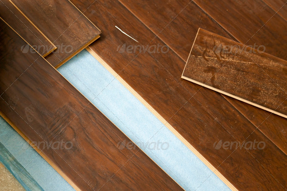 Newly Installed Brown Laminate Flooring Abstract. - Stock Photo - Images
