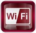 WI-FI icon red, isolated on white background