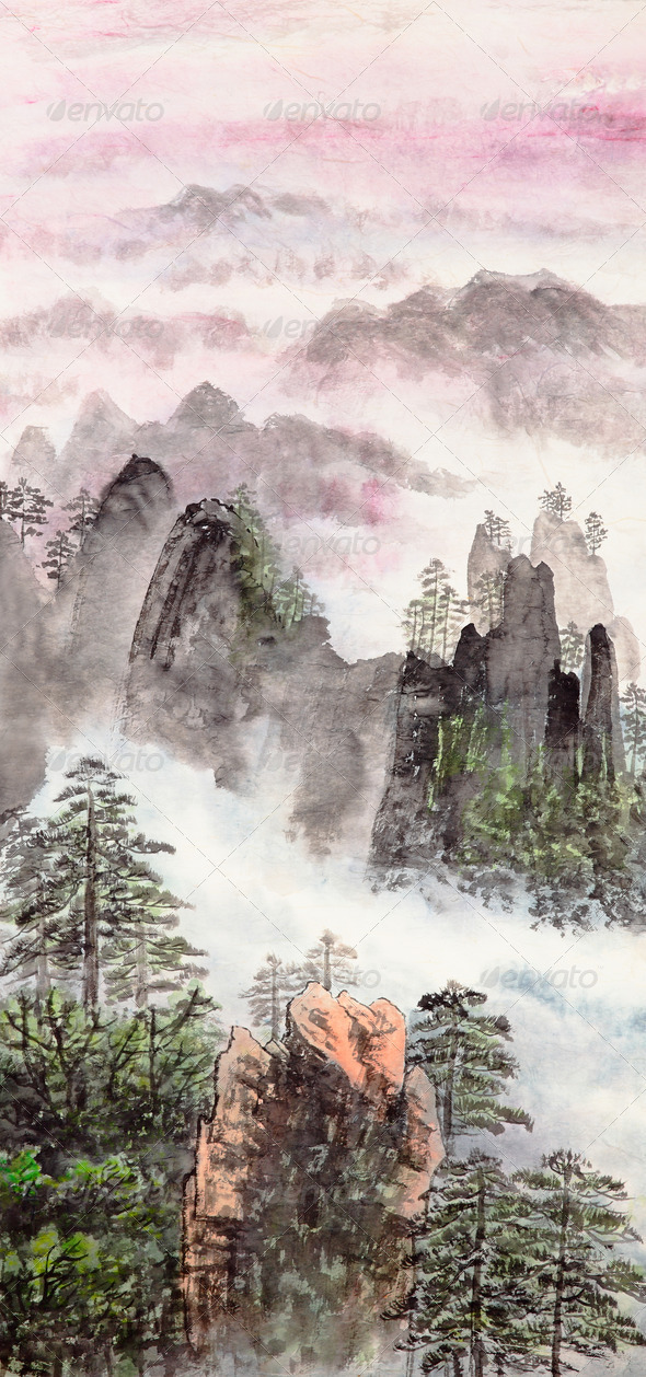Chinese painting of high mountain - Stock Photo - Images