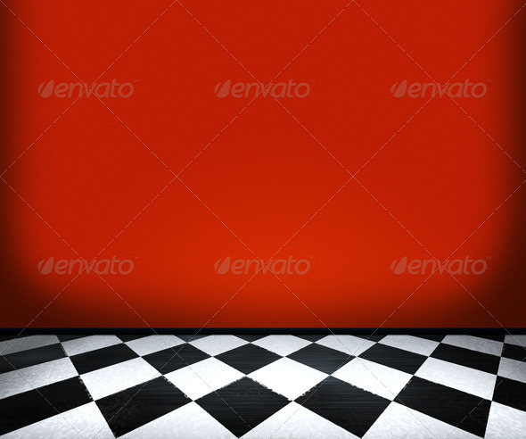 Chessboard Floor Tiles in Red Room - Stock Photo - Images