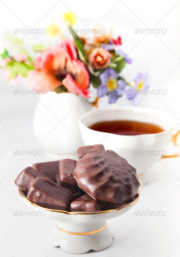 Cup of tea with chocolate - Stock Photo - Images