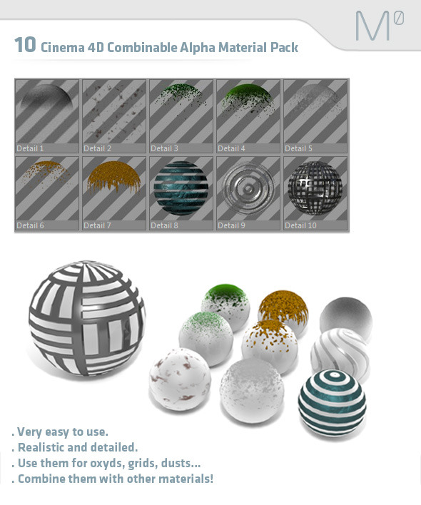 3DOcean 10 Cinema 4D Combinable Alpha Material Pack 2561291