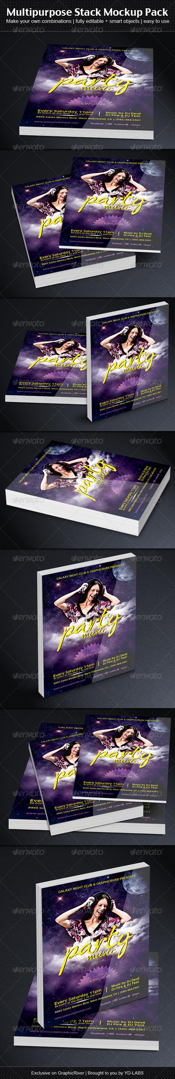 Multipurpose Stack Mockup Pack - Books Print