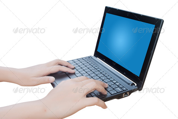 Hand pushing laptop Keyboard. - Stock Photo - Images