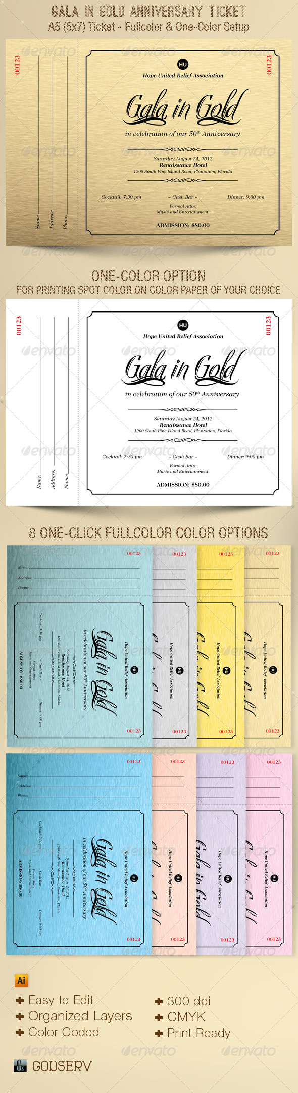 Gala In Gold Anniversary A5 Ticket Template - Miscellaneous Print Templates