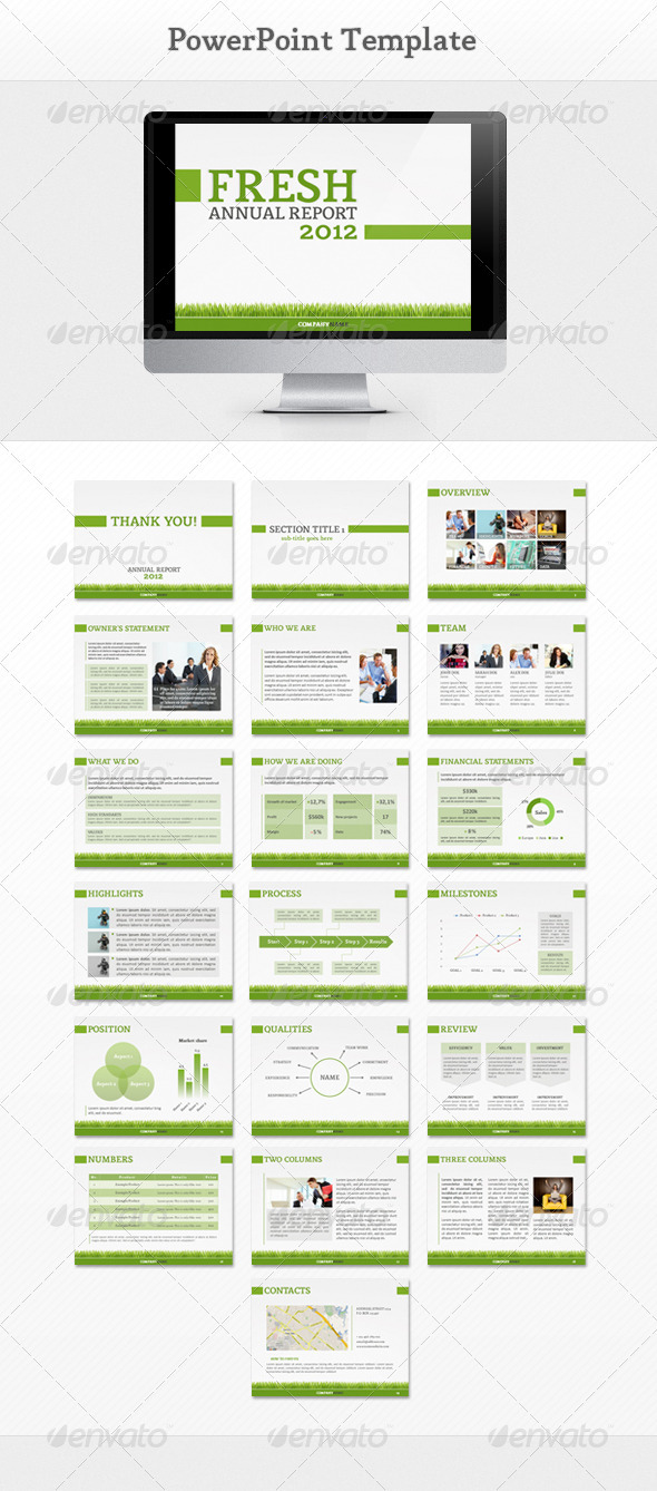 Fresh Report PowerPoint - Powerpoint Templates Presentation Templates