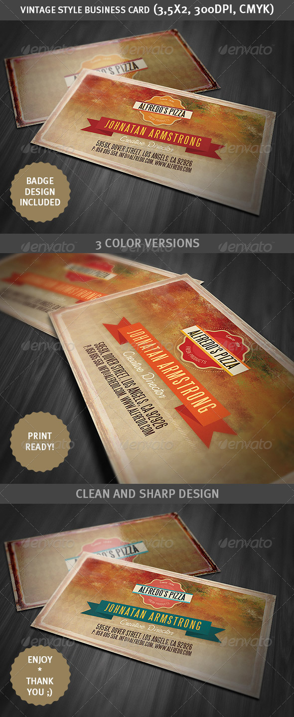 Grunge Style Business Card 2 - Retro/Vintage Business Cards