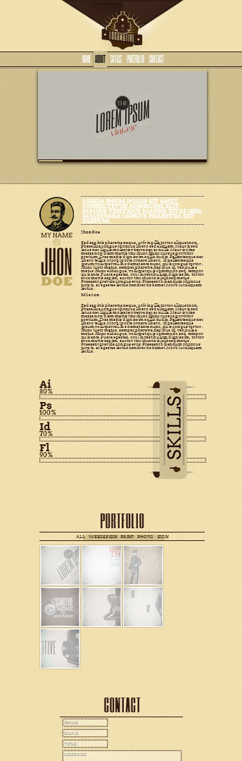 Locomotive - One Page Vintage Portfolio Template