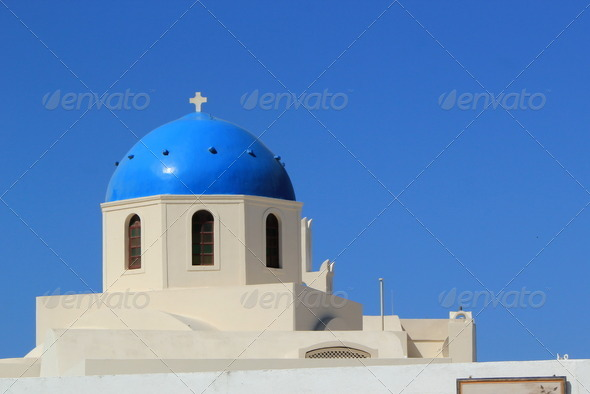 Blue Dome of a church, Oia, Santorini, Greece - Stock Photo - Images