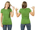Female with blank green shirt - PhotoDune Item for Sale