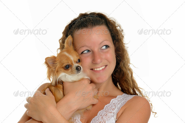girl and chihuahua - Stock Photo - Images