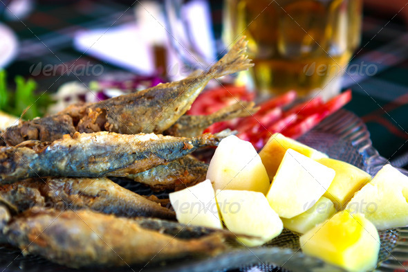 Fried fish and chips - Stock Photo - Images