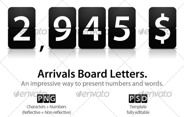 GraphicRiver Arrivals Board Letters 91497