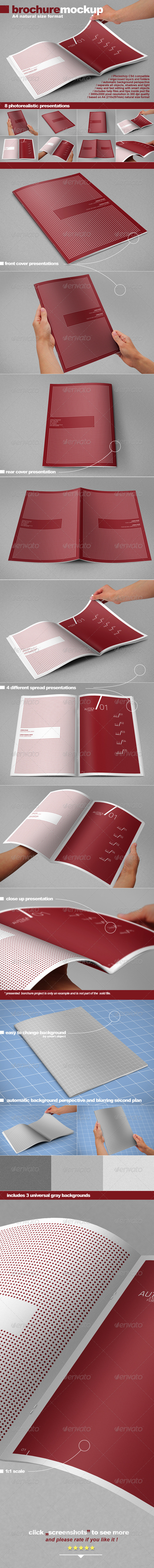 GraphicRiver Photorealistic A4 Brochure Mock-up 2549526