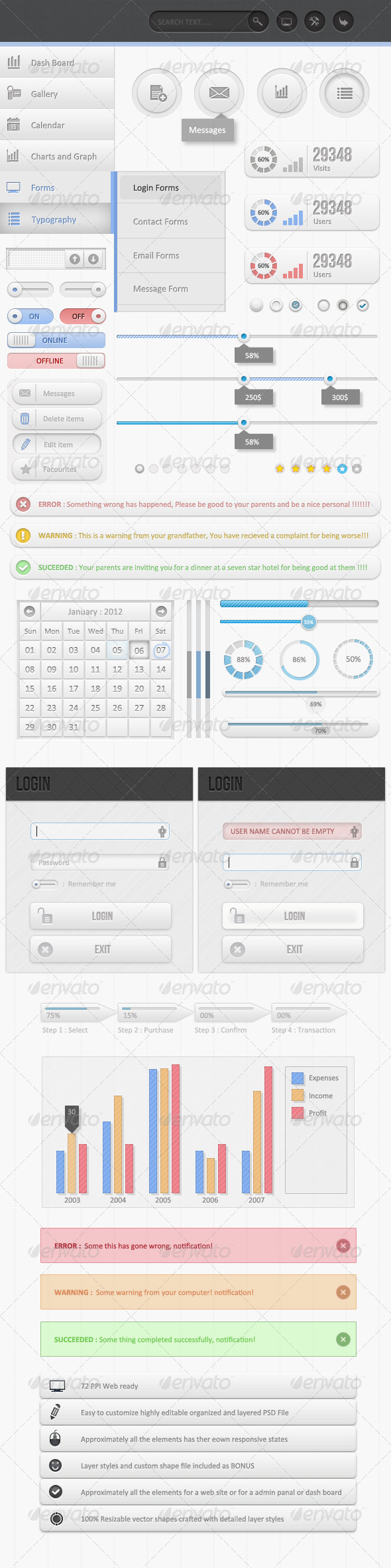 GraphicRiver Ultra Clean Dash Board UI Kit 2564093