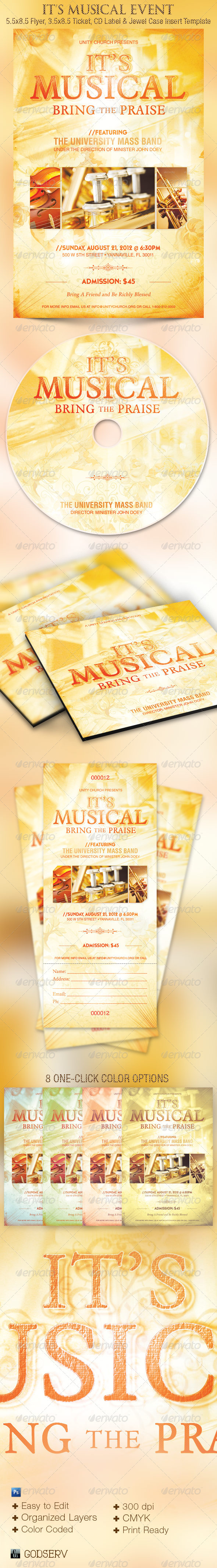 Its Musical Event Flyer, Ticket and CD Template - Church Flyers