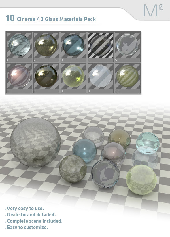 3DOcean 10 Cinema 4D Glass Pack 2564242