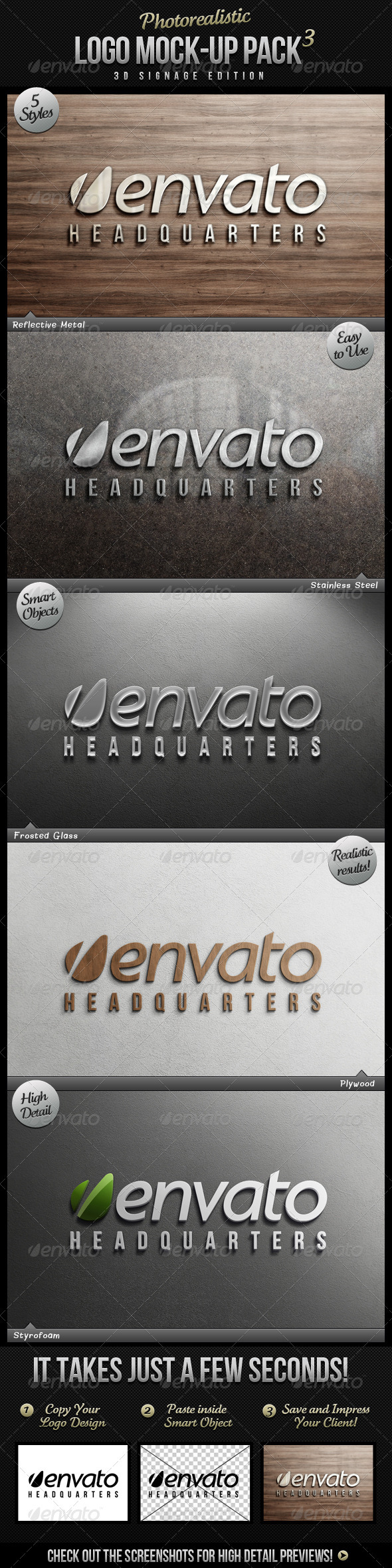 Photorealistic Logo Mock-Up Pack 3 - Logo Product Mock-Ups