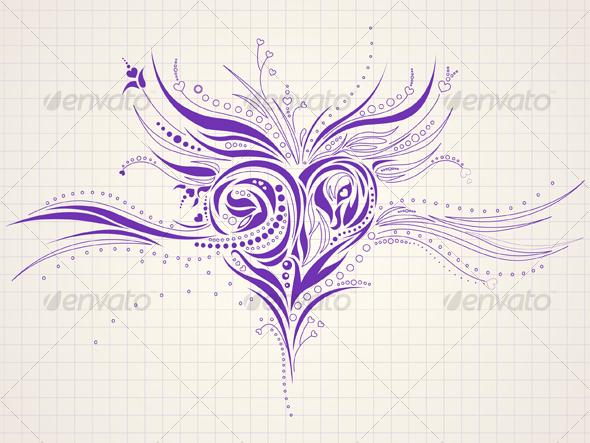 Hand drawn heart doodle - Tattoos Vectors