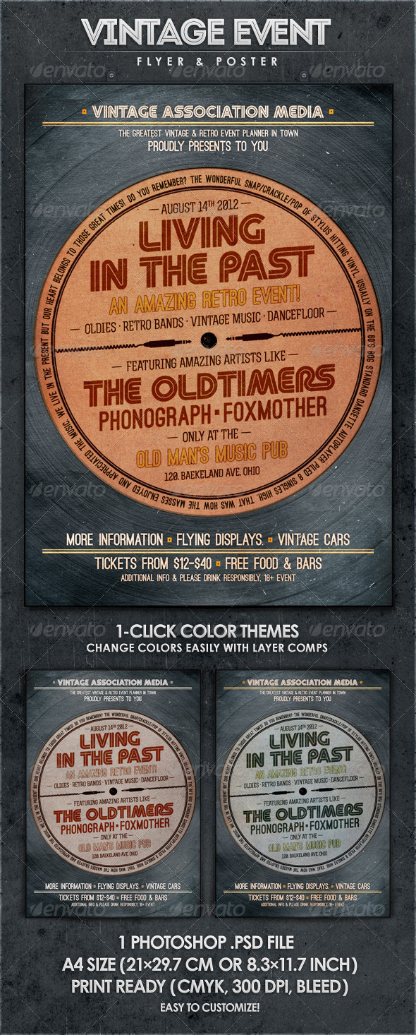 Living in the Past - Retro Flyer & Poster - Concerts Events