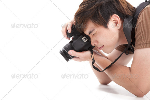 young man with photo camera  - Stock Photo - Images