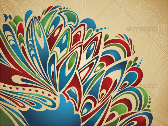 Artistic background with abstract feathers - Backgrounds Decorative