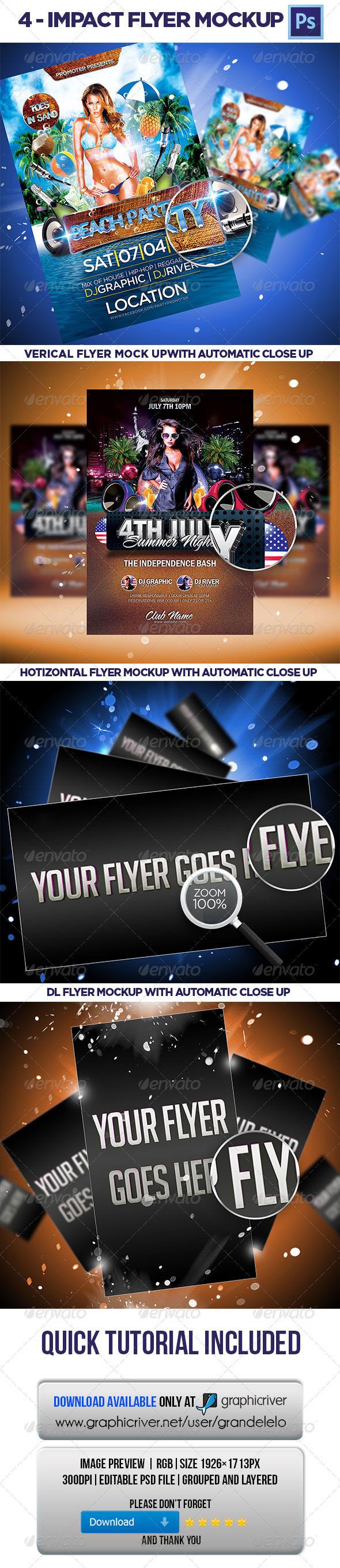 4 Impact Flayer Mockup - Flyers Print