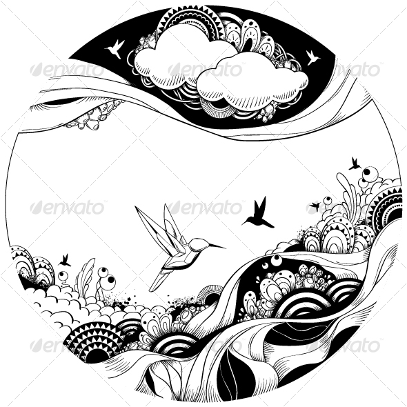 GraphicRiver Black and white ink sketch 93441