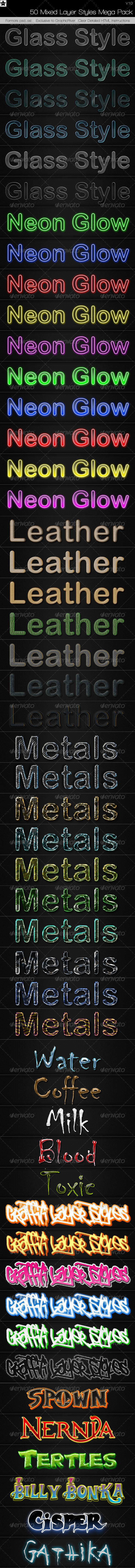 50 Mixed Layer Styles Mega Pack - Text Effects Styles