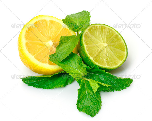 Fresh Lemon, Lime and Mint - Stock Photo - Images