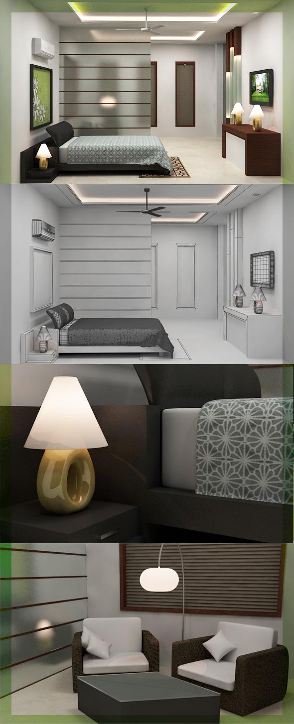 Realistic Bedroom interior 3D