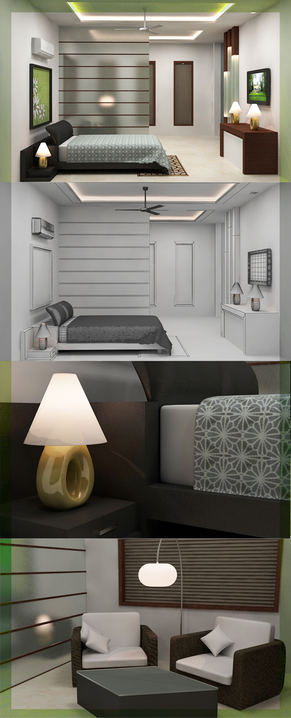 3DOcean Realistic Bedroom interior 3D 2569616