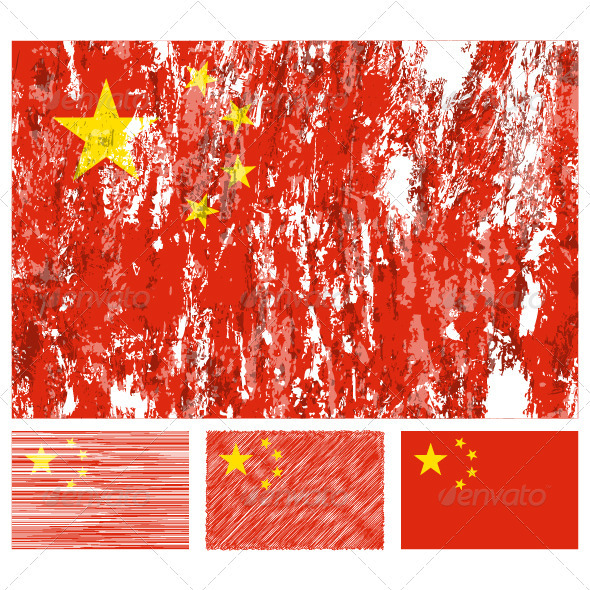 China grunge flag set - Objects Vectors