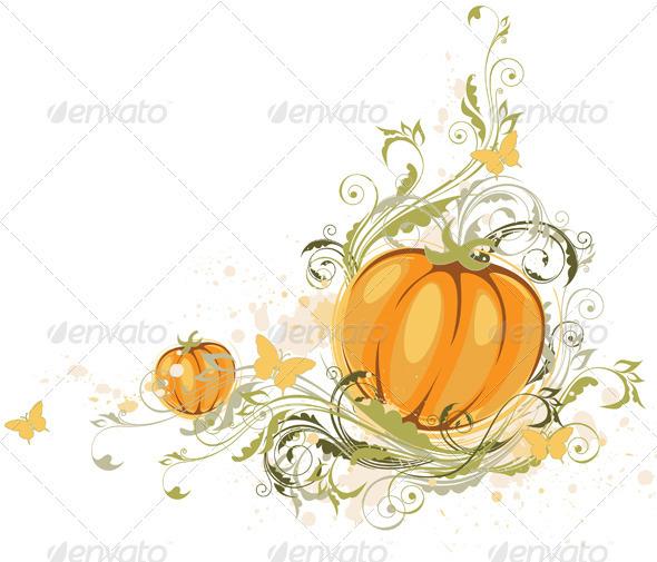 Halloween Pumpkin and Floral Ornament