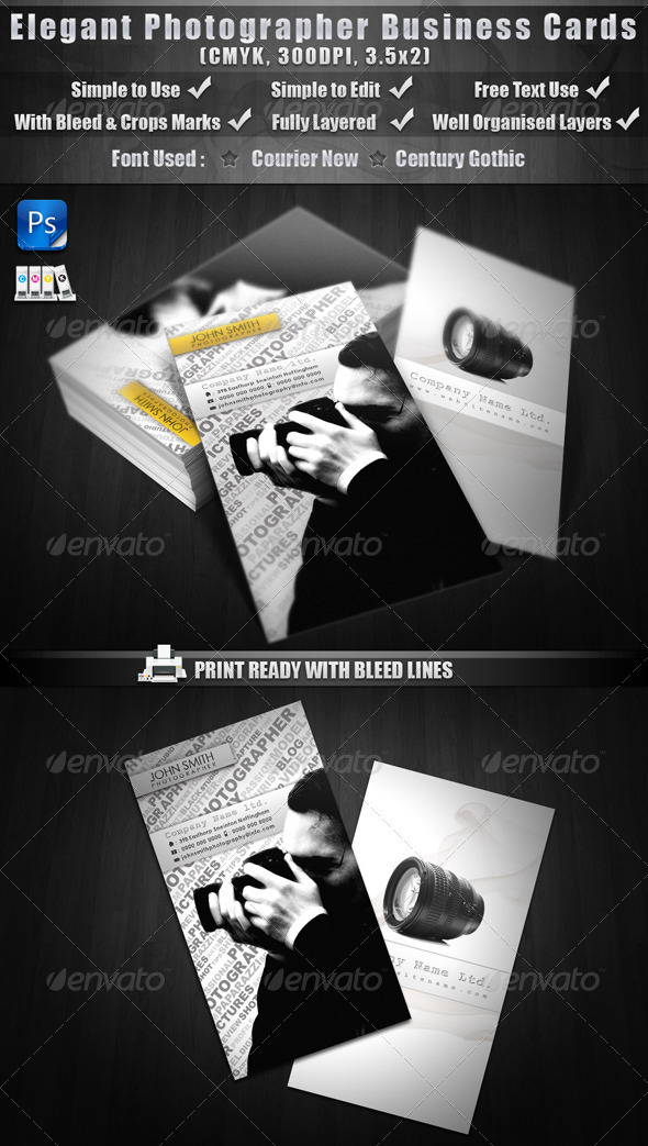 GraphicRiver Elegant Photographer Business Cards 287838