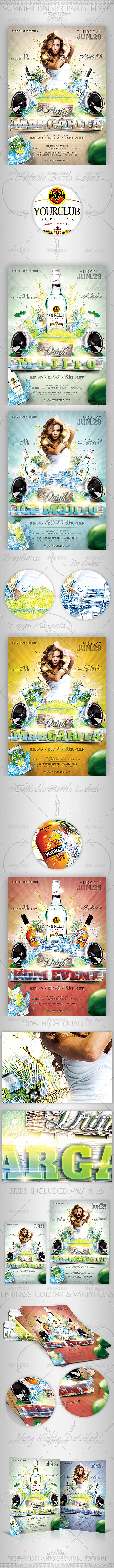 GraphicRiver Summer Drinks Event Party Flyer 2573508