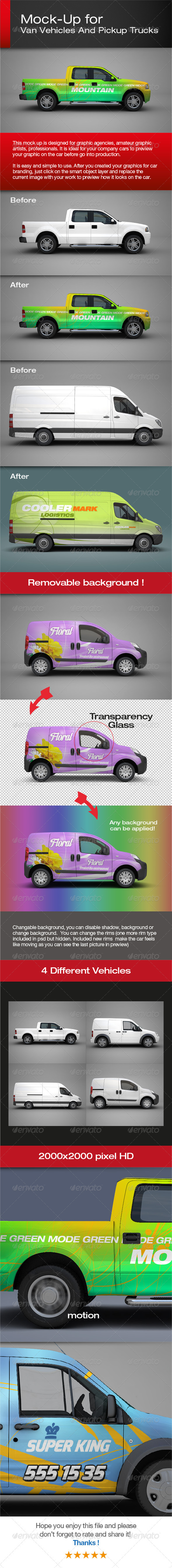 Van Vehicles And Pickup Trucks Mock-Up - Vehicle Wraps Print