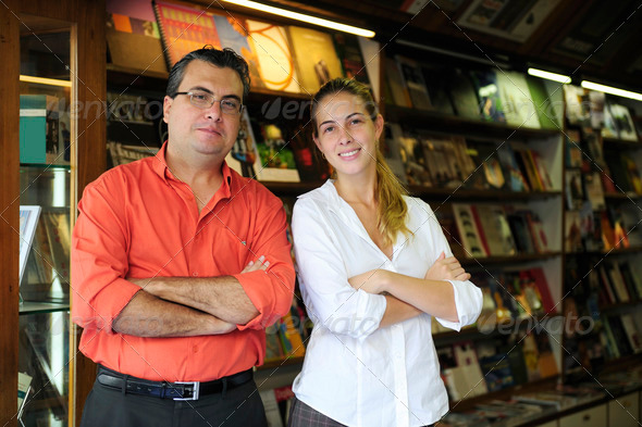 PhotoDune family business partners owners of a small bookstore 2574282