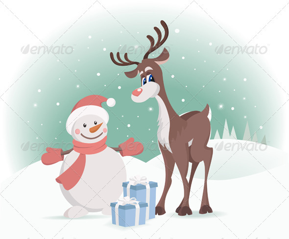 GraphicRiver Rudolph Reindeer With Snowman 2574629