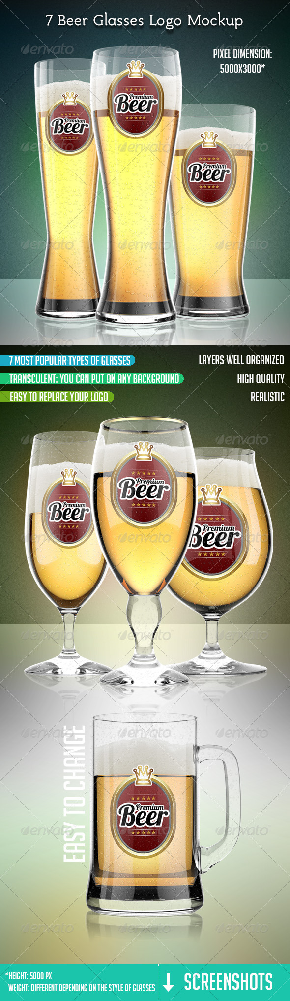 7 Beer Glasses Logo Mock-Up - Logo Product Mock-Ups