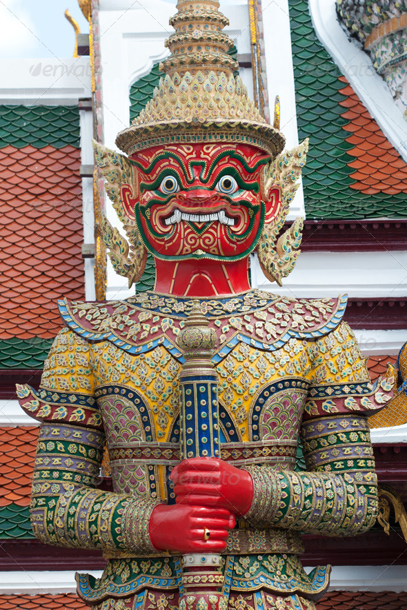 Giant Buddha at Grand Palace, Bangkok - Stock Photo - Images