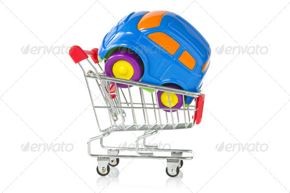 Plastic Toy Car In A Shopping Cart - Stock Photo - Images