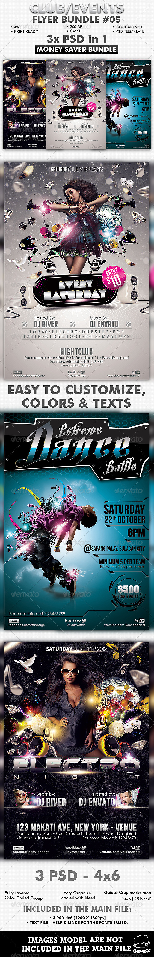 GraphicRiver Club Events Flyer Bundle #05 2575510